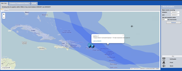 Screenshot of SCAIR mapping the path of hurricane Maria