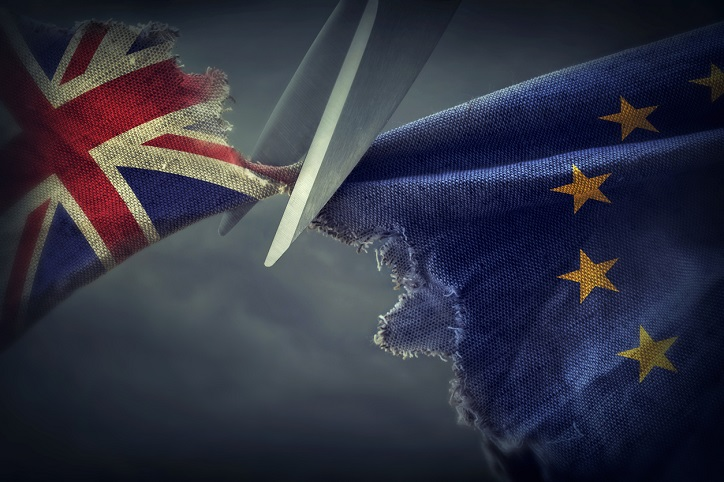 Flags of the United Kingdom and the European Union.Brexit concept SCAIR blog