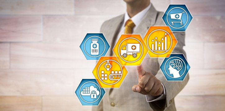 Outline of pharmaceutical logistician activating icons for predictive analytics, materials handling and transportation. IT concept for supply chain management and pharma business logistics.
