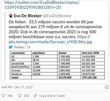 Screen shot of tweet about cost of covid drugs